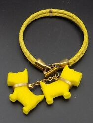 Vintage 1940s Yellow Plastic SCOTTIE DOGS Braided Charm Bracelet