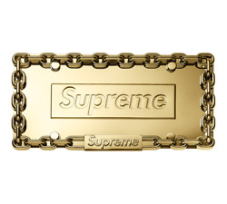 SUPREME CHAIN LICENSE PLATE FRAME - GOLD - FW 2018 - 100% AUTHENTIC
