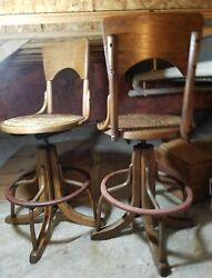 Vintage 20's PAIR(2) TELEPHONE REVOLVING Switchboard OPERATOR CHAIRS Cane Swivel