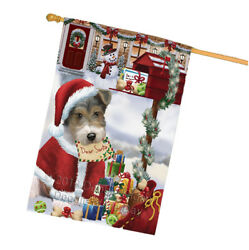 Wire Fox Terrier Dog Santa Letter Christmas Holiday Mailbox House Flag FLG53759