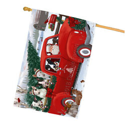 Christmas Santa Express Delivery Bull Terriers Dog Family House Flag FLG55222