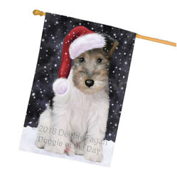 Christmas Holiday Wire Fox Terrier Dog Wearing Santa Hat House Flag FLG54533