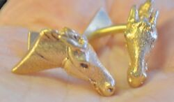 14k Solid Gold Horse Head Ruby Eyes Cufflinks 19 Grams Signed Fabulous 14 K Gold