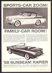 1958 Sunbeam Coupe De Sport And Rapier Convertible Photo Room And Zoom Print Ad