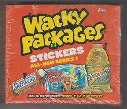TOPPS WACKY PACKAGES STICKERS ALL NEW SERIES 1 FACTORY SEALED BOX VERY RARE !!