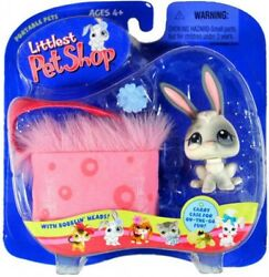 Littlest Pet Shop Portable Pets Bunny Figure [White with Pink Carry Case]