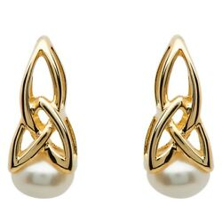 Shanore 10k Yellow Gold Irish Made Celtic Trinity Knot Pearl Dangle Earrings