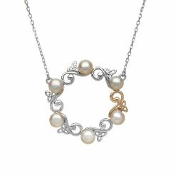 House of Lor Sterling Silver Irish Gold Pearl Trinity Celtic Necklace h40039