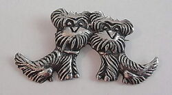 Vintage Art Deco Sterling Silver Double Scottish Terrier Scotty Dog Pin