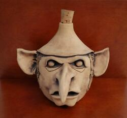 Rare Carolyn Francis Pottery Sculpture - Booger Bottle 8 Signed 70and039sugly Face