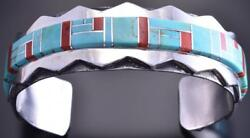 Silver And Turquoise And Coral Navajo Inlay Mtns Men's Bracelet Wilson Dawes 8j15n