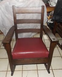 Quartersawn Oak Mission Rocker / Rocking Chair With Red Leather R207