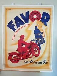 LARGE Original Vintage Favor Bicycles Motorcycles Poster Canvas Cycles Art