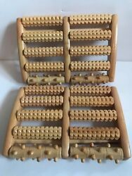 Lot Of 6 Pc Dual 10 Rows Foot Massager Roller Feet Relax Wooden Bamboo