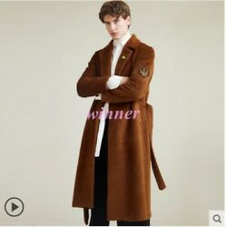 2019 Men's Occident 100% Wool Cashmere Knee Length Trench Coat Overcoat Jackets