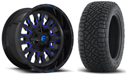 5 20x10 Fuel D645 Stroke Blue 33 At Wheel And Tire Package 5x4.5 Jeep Wrangler Tj