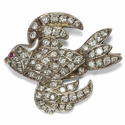 Vintage Bird Brooch Made Of 375 Gold And Diamonds, Um 1960 White Gold