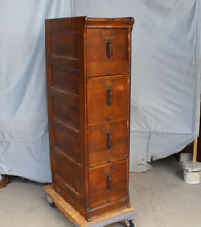 Antique Oak File Filing Cabinet 4 drawer – Globe - Paneled Sides