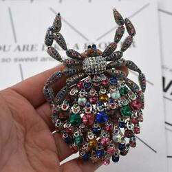 Luxurious Spiders Insects Color Rhinestone Crystal Brooch Pin Pendant Christmas