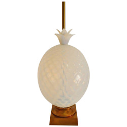 Large Seguso Murano Glass Quilted Opalescent Pineapple Lamp For Marbro