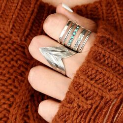 Chevron Ring For Women Solid Sterling Silver Long Statement Boho Size 6 7 8 9