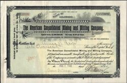 Cripple Creek Co. American Consolidated Mining And Milling Co 1900 Stock Cf