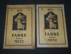 1931 And 1934 Fabre Graines Metz French Catalogue Lot Of 2 - Fr 719