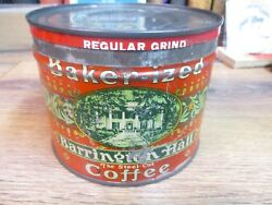 Barrington Hall Coffee Can Baker-ized With Original Lid Store Tin 1 Lb Vintage