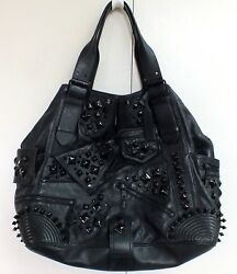 Alexander McQueen Tote Bag Studded Zippers Black Leather XL Hobo Purse Designer