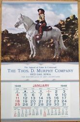 Pinup Cowgirl 1948 Advertising Calendar/poster Girl Of The Golden West - Horse