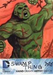 Dc Comics The New 52 Sketch Card By David Day - Swampthing