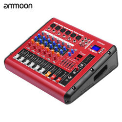 ammoon PMR606 6-Channel Digital Audio Mixer Mixing Console for Karaoke US Q9X1