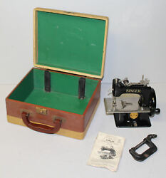 Singer Toy Sewing Machine With Case And C-clamp And Instruction Book