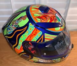 Valentino Rossi Signed 5 Continents Helmet 2 Unframed + Photo Proof And C.o.a