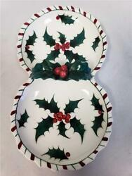 = Lefton's Christmas Holly Berry And Candy Cane 2 Sided Candy Dish Japan 031