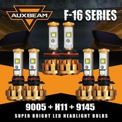 Auxbeam Combo 9005+H11 LED Headlight+9145 H10 Fog Kit 6500K for Ford F-150 15-18