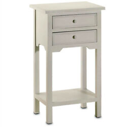 Night Stand Side Table White Nightstand Bedside End Table 2 Drawer Farmhouse