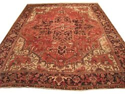 Authentic Wool Rnr-6924 8and039 1 X 11and039 7 Persian Heriz Rug