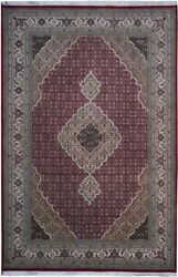 Authentic Wool 6and039 3 X 9and039 5 India Tebriz Rug Rnr-9649
