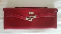 Auth Hermes Kelly Cut Longue Rubis Rose Tyrien PHW Bag Pochette Clutch Candy