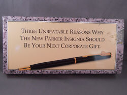 Parker Black Lacquer Ball Pen In Unusual 1993 Corporate Gift Box--new Old Stock
