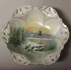 Antique Rs Prussia Bowl With Snow Birds Design And Home In The Background