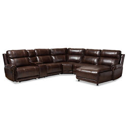 Modern Brown Faux Leather 6-piece Theater Sectional Sofa Recliner Corner Lounge