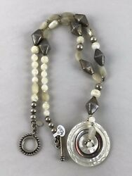 Original Stacey Porter Mother Of Pearl Sterling Pendant Button Necklace