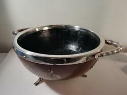 A Large Arts And Crafts Wooden Bowl W. Silver Plated And039twigand039 Surround C1890
