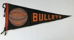 Late 1940and039s 1950and039s Baltimore Bullets Basketball Pennant 28 Full Size Rare