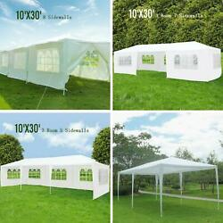 10and039x30and039 Outdoor Canopy Party Wedding Tent White Gazebo Pavilion 5/7/8 Sidewalls
