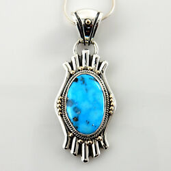 Native American Navajo Silver Gold Two Toned Turquoise Pendant
