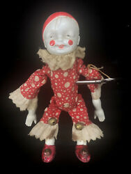 Antique Somersault Wind Up Toy W Key Celluloid Plastic Boy Doll Red White Clown