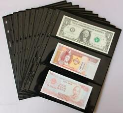 Lots 10 Pcs 3 Row Black Sleeves Holders Fit World Paper Money Banknote Bill